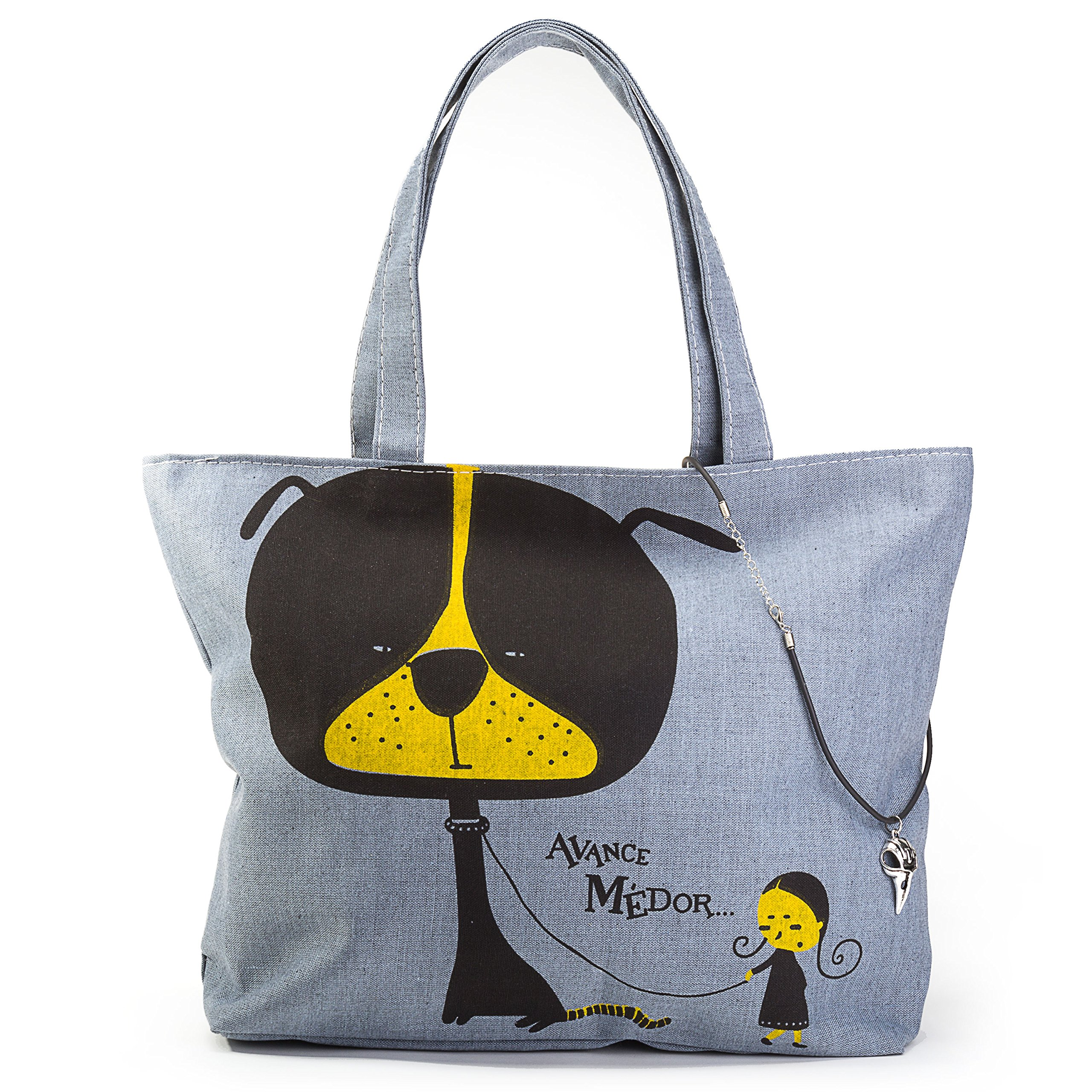 Grunge Style Tote Bag with Bird Skull Choker Necklace - Hipster Fashion Purse for Street Rebels