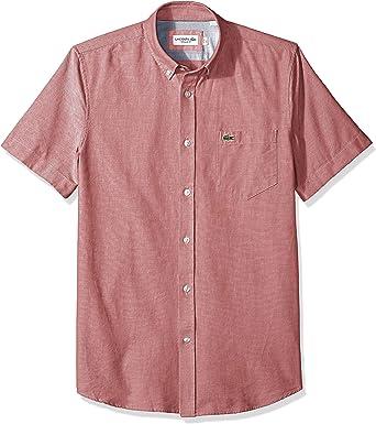Lacoste Hombre CH4975-51 Manga Corta Camisa de Botones - Rojo - Small: Amazon.es: Ropa y accesorios