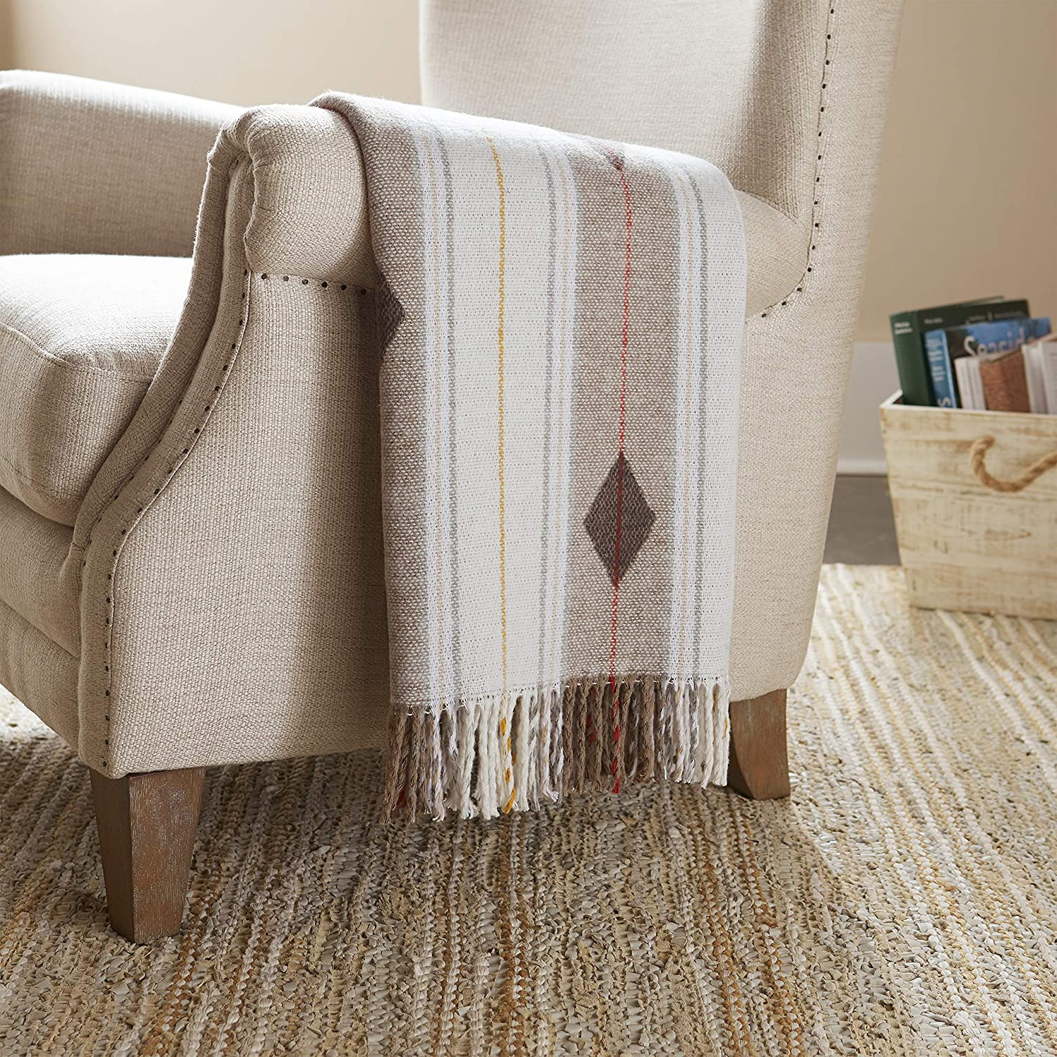 """Stone & Beam Contemporary Stripes and Lines Throw Blanket, 60"""" x 50"""", White/Multicolored"""