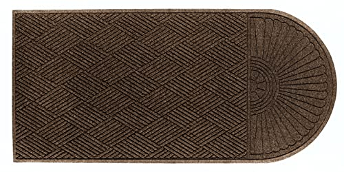 M A Matting 2248 Chestnut Brown PET Polyester WaterHog ECO Grand Premier Entrance Mat, Half Oval One End, 5.5 Length x 3 Width, for Indoor Outdoor