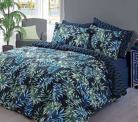 Warm Reversible Quilt Bedding Palm Leaf Bedding Duvet Cover And Pillowcase Set