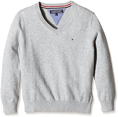 Tommy Hilfiger Baby - Jungen Pullover Tommy Vn Sweater L s, Grau (Grey dd8a7b0d58