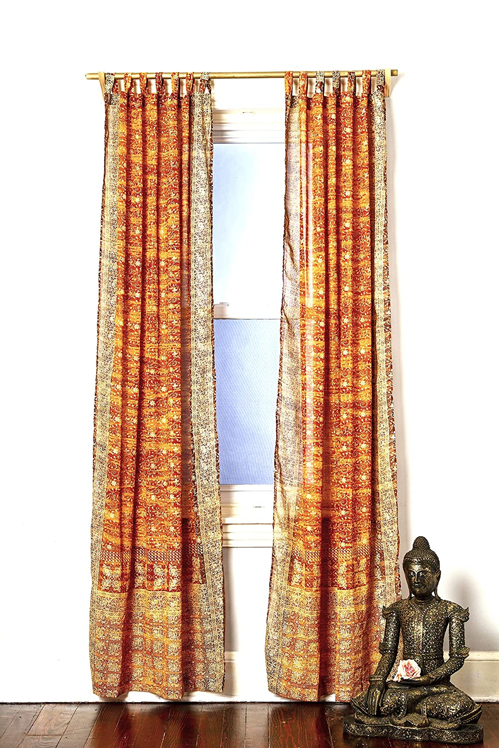 Gold Yellow Amber Honey Curtain Set Boho Window Treatment Light Sari 108 96 84 inch for Bedroom Living room Dining room Studio Canopy Bed Tent Hippie Gypsy Chic Bright Colorful HomeDecor W Gift bag