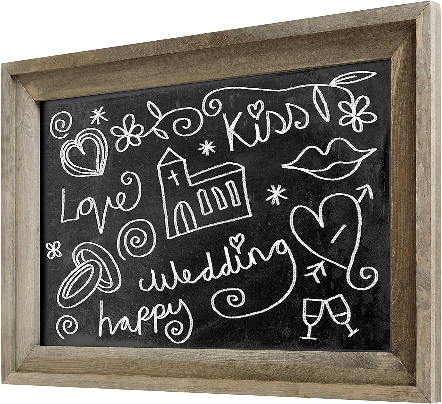 MyGift Rustic Wall Mounted Ash Gray Wood Framed Erasable Chalkboard, Family Message Boards - 36 x 24