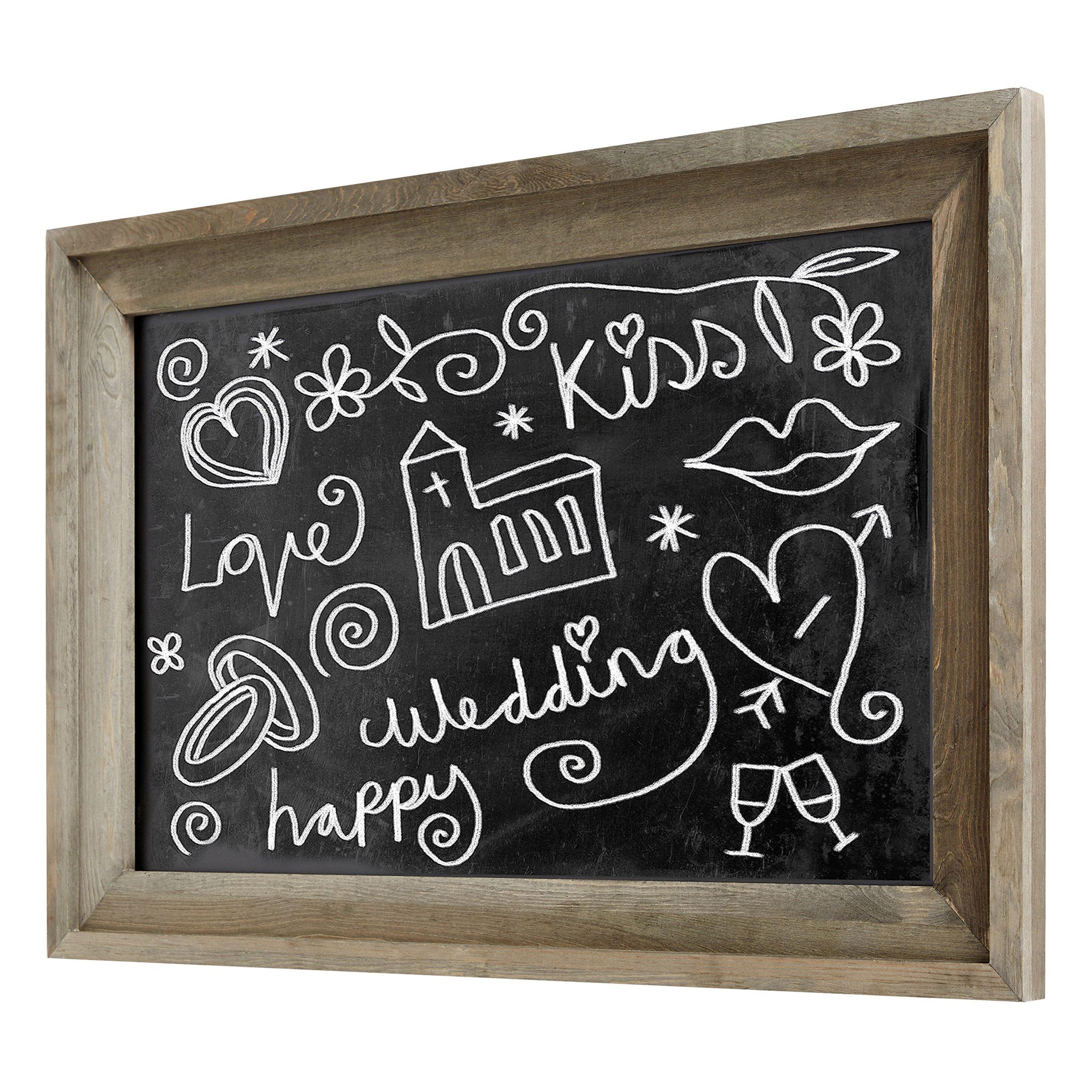 Rustic Wall Mounted Ash Gray Wood Framed Erasable Chalkboard, Cafe Menu Sign - 36 x 24