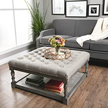 Fantastic Amazon Com Best Care Llc Button Tufted Linen Ottoman For Caraccident5 Cool Chair Designs And Ideas Caraccident5Info