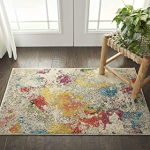 "Nourison Celestial Colorful Modern Multicolor Area Rug 2'2""X3'9"", IVORY/MULTI"