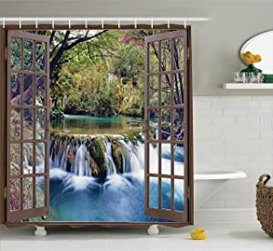 Ambesonne House Decor Shower Curtain Set, Wide Waterfall Deep Down in The Forest Seen from A City Window Epic Surreal Decorative Print, Bathroom Accessories, 69W X 70L Inches, Multi