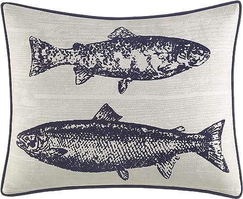 Eddie Bauer Salar Collection 100 Cotton Salmon Fish Design Decorative Throw Pillow Sham with Corded Edge Lining, Zipper Closure, 16 x 20 , Navy
