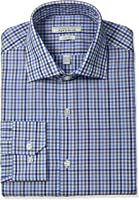 Perry Ellis Men's Slim-Fit Wrinkle-Free Multi Tattersall Dress Shirt with Adjustable Collar