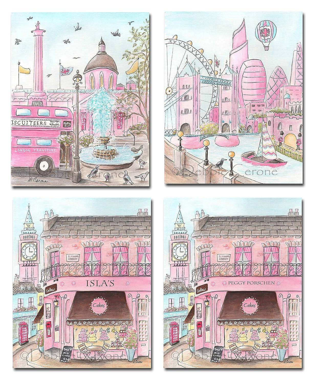 London Girl Nursery Wall Decor, Set Of 3, Personalized, Wall Art For Girls  Travel Themed Bedroom, Pink Gray Chocolate Brown, Cake Shop Art Print  Custom Name ...