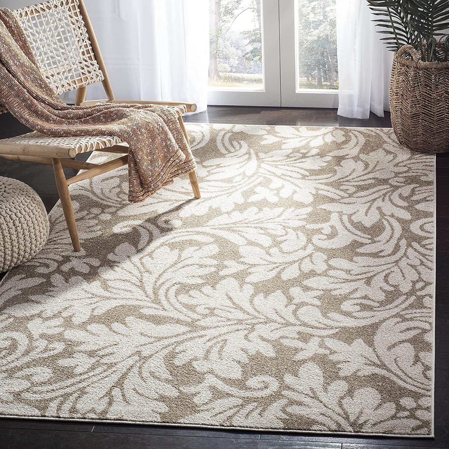 Safavieh Amherst Collection AMT425S Floral Non-Shedding Stain Resistant Living Room Bedroom Area Rug, 9' x 12', Wheat / Beige