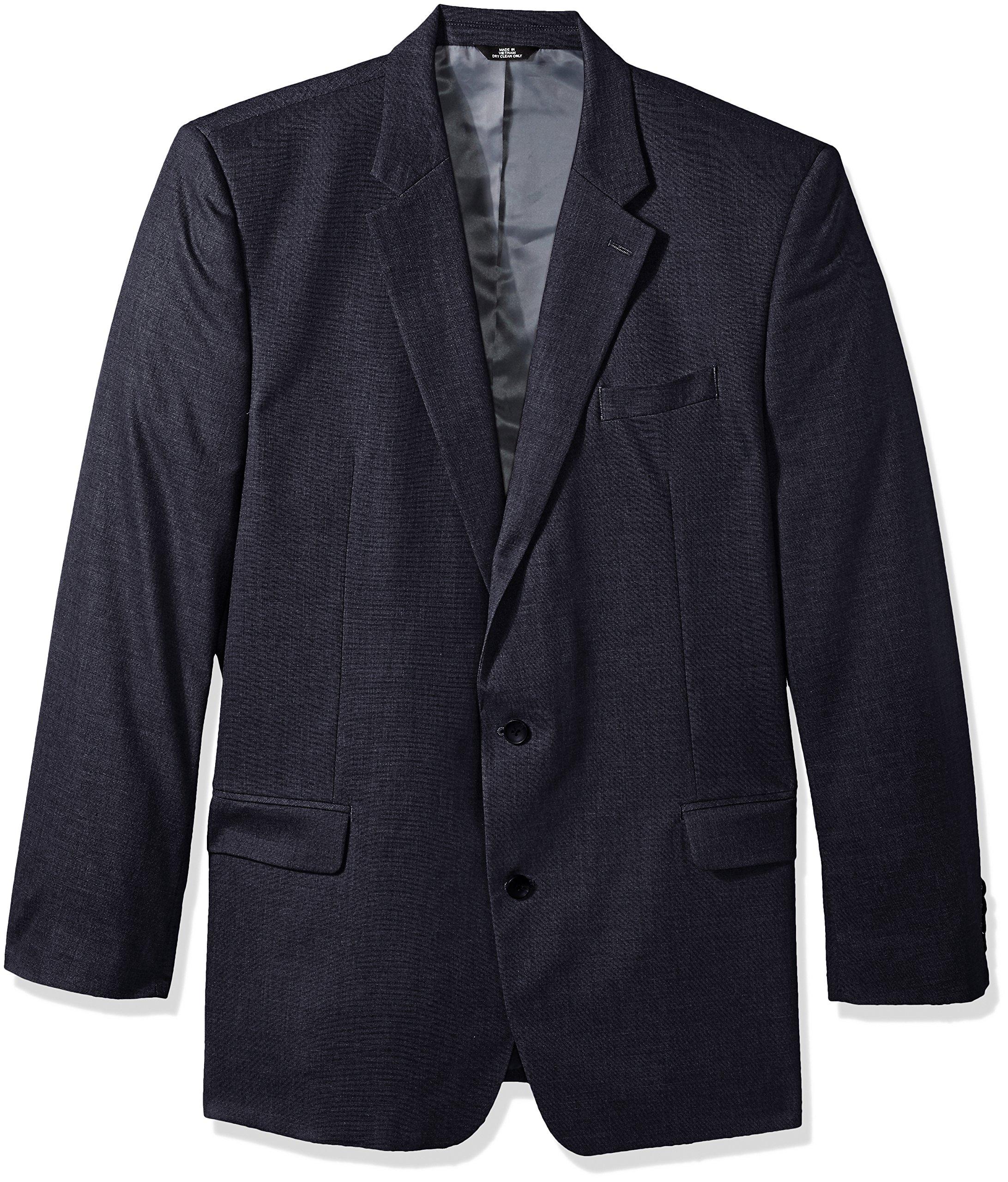 Haggar Men's Tall Size J.M. Premium Performance Stretch Stria 2-Button Suit Separate Coat, Dark Navy, 50XL