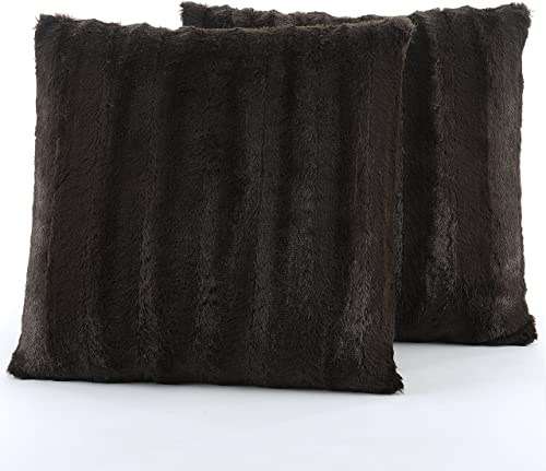 Cheer Collection Faux Fur Throw Pillows – Set of 2 Decorative Couch Pillows – 18 x 18 – Chocolate