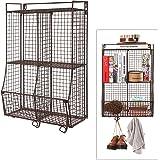 Wall Mounted / Collapsible Brown Metal Wire Mesh Storage Basket Shelf Organizer Rack w/ 2 Hanging Hooks