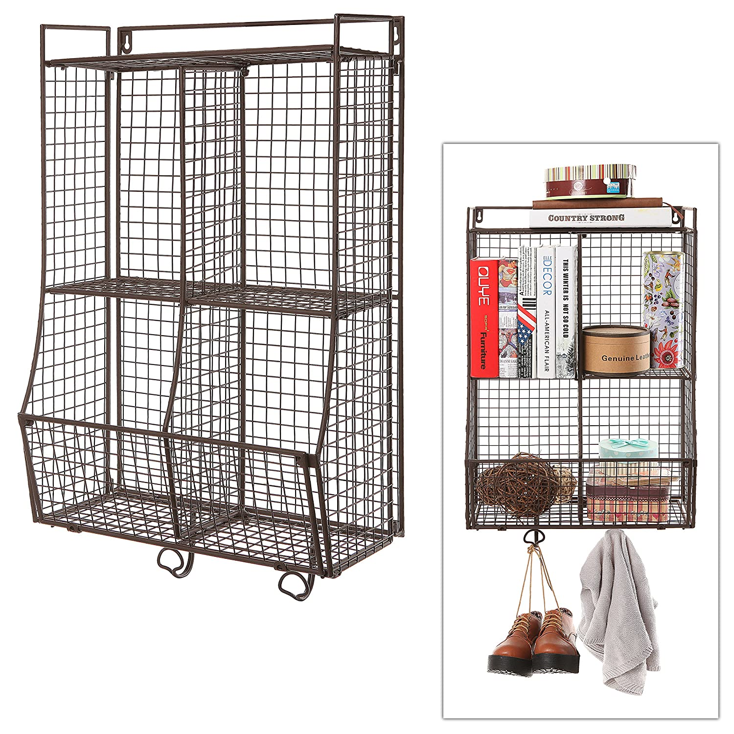 Amazon.com: Wall Mounted / Collapsible Brown Metal Wire Mesh Storage ...