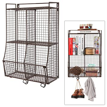 Great Amazon.com: Wall Mounted / Collapsible Brown Metal Wire Mesh Storage Basket  Shelf Organizer Rack W/ 2 Hanging Hooks: Home U0026 Kitchen