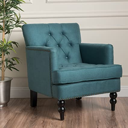 Wonderful Madene Teal Nail Head Accent Fabric Club Chair