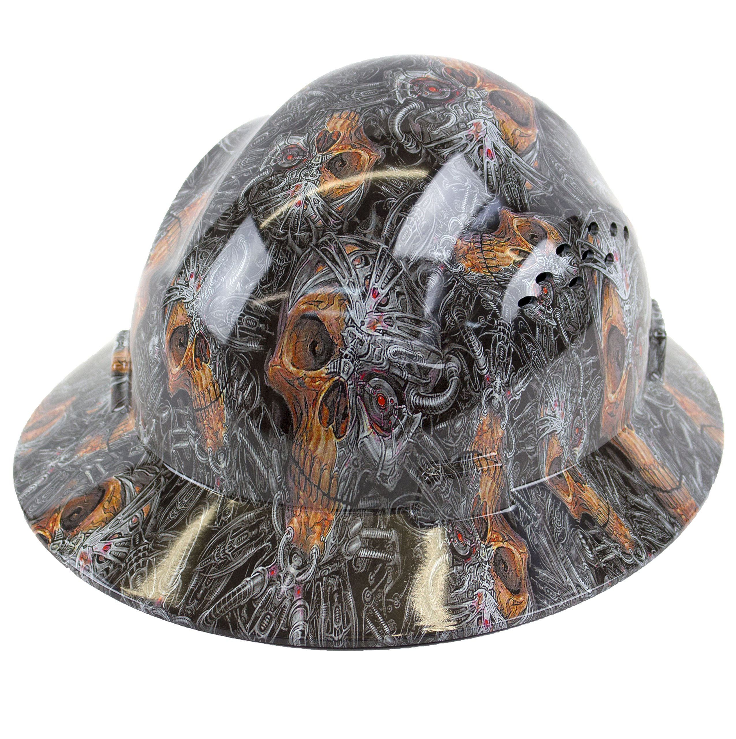 RK Safety RK-HP44-SKULL Hard Hat Brim Style with 4 Point Ratchet Suspension, 1EA (Skull) by RK