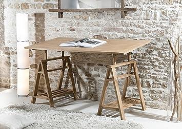 Macabane bureau tréteaux bois miel clair cm amazon
