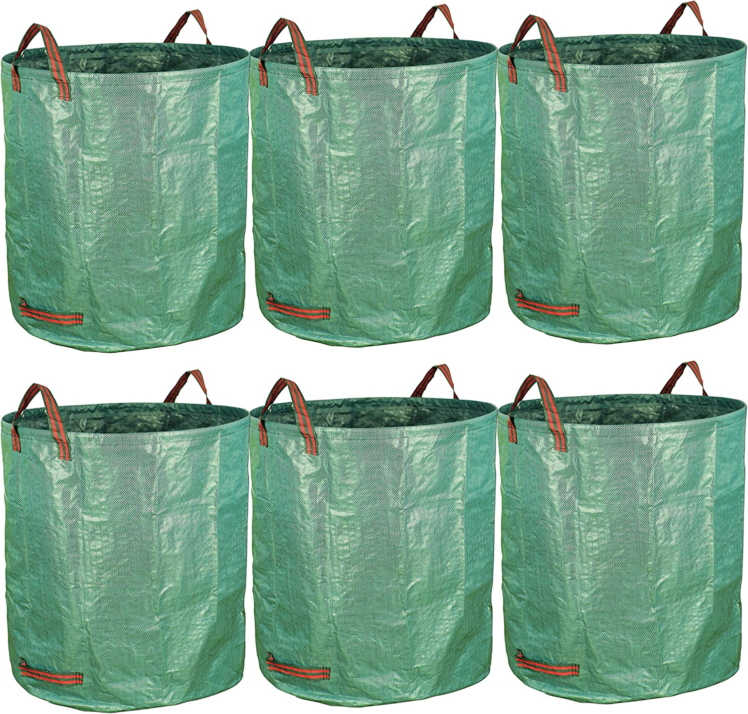 Gardzen 6-Pack 80 Gallon Garden Bag - Reuseable Heavy Duty Gardening Bags, Lawn Pool Garden Leaf Waste Bag