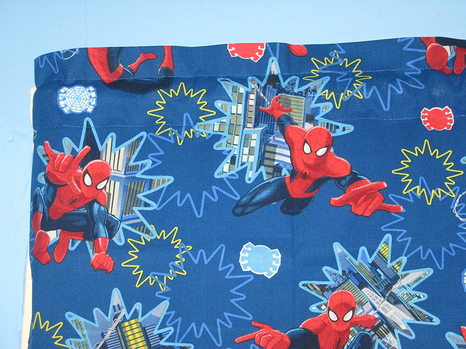 Amazon.com: RED BLUE SPIDER MAN Cotton Window Curtain Valance: Home ...