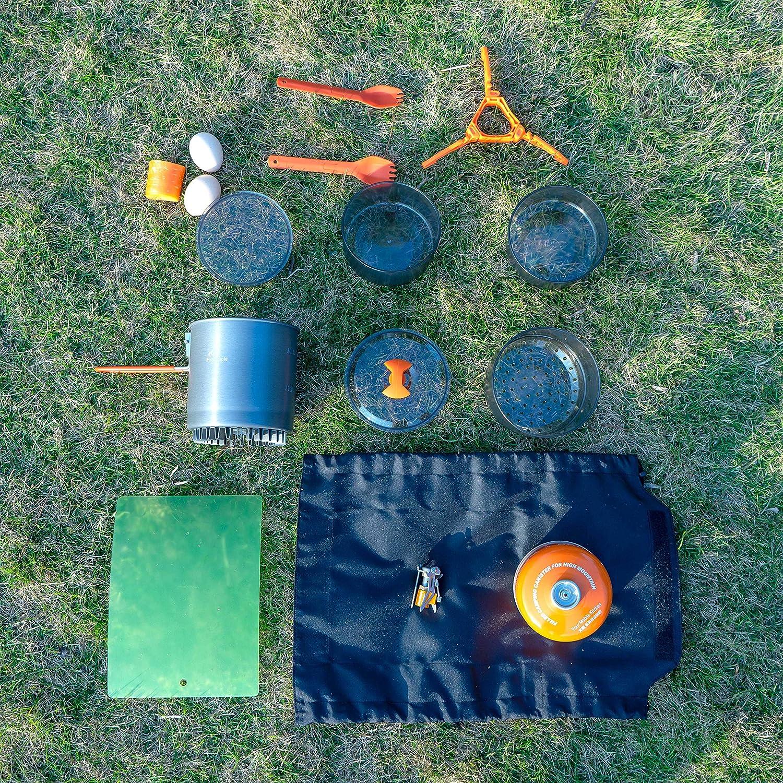 Fire-Maple Island 2019 Estufa de Camping con Mochila Ultraligera actualizada Maceta de Flux de 1L con Cubiertos Plegables Steamer y Soporte Pot de estufav