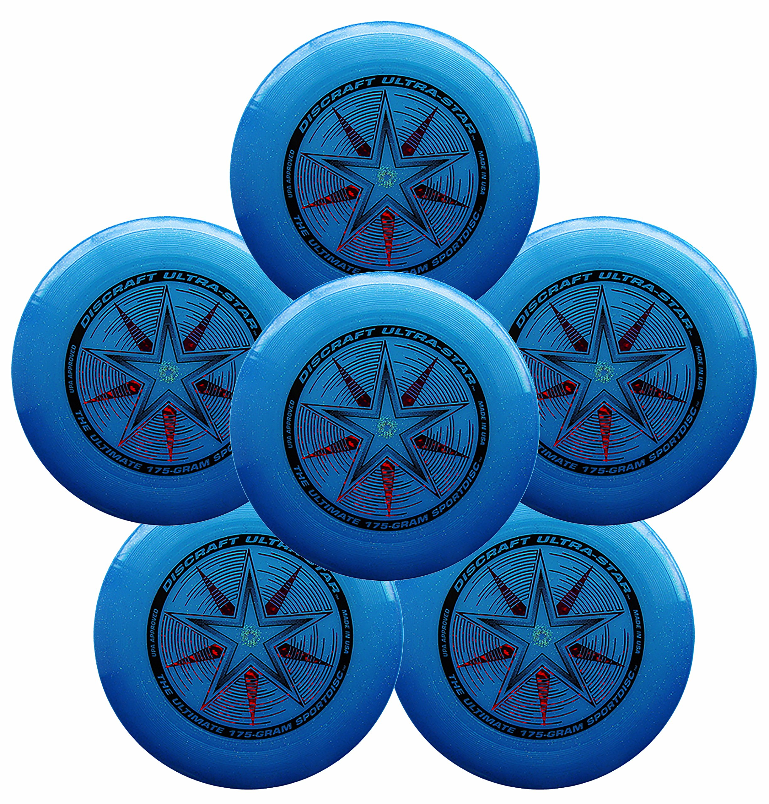 Discraft Ultra-Star 175g Ultimate Frisbee Sport Disc (6 Pack) Sparkle Blue by Discraft
