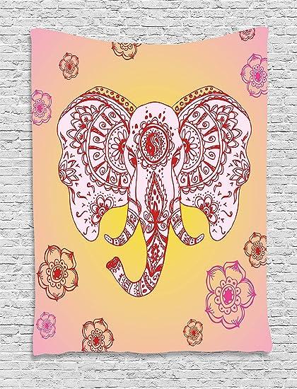 Amazon.com: Ambesonne Elephant Mandala Tapestry, Ethnic Tribal ...