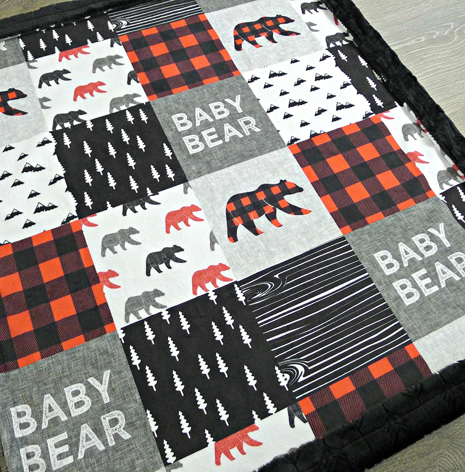 99cfea4dd8a8c Bear Baby Blanket - Baby Bear Baby Blanket - Minky Baby Blanket - Black  White Red - Woodland Blanket -Baby Blanket - Nursery Decor - Crib Bedding -  Faux ...