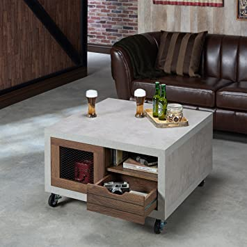 Furniture Of America Clayton Industrial Cement Like Multi Storage Coffee  Table Walnut