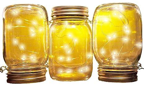 Mason Jar Solar Lights | 3 Pack | Jars, Inserts, Hangers Included |
