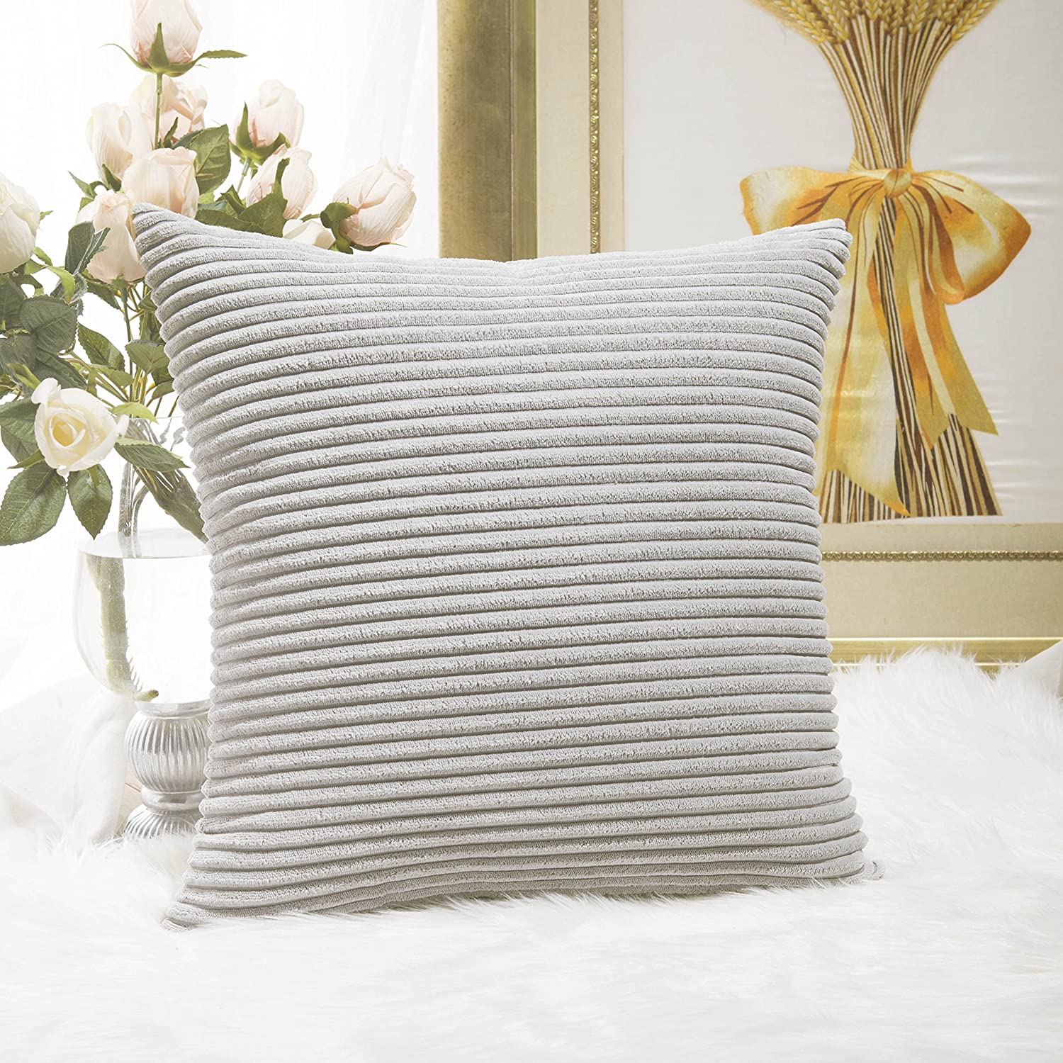 Home Brilliant Striped Corduroy Euro Sham Fall Large Throw Pillow Cover Decorative Cushion Cover for Bed, 24 x 24 inch (60cm), Light Grey