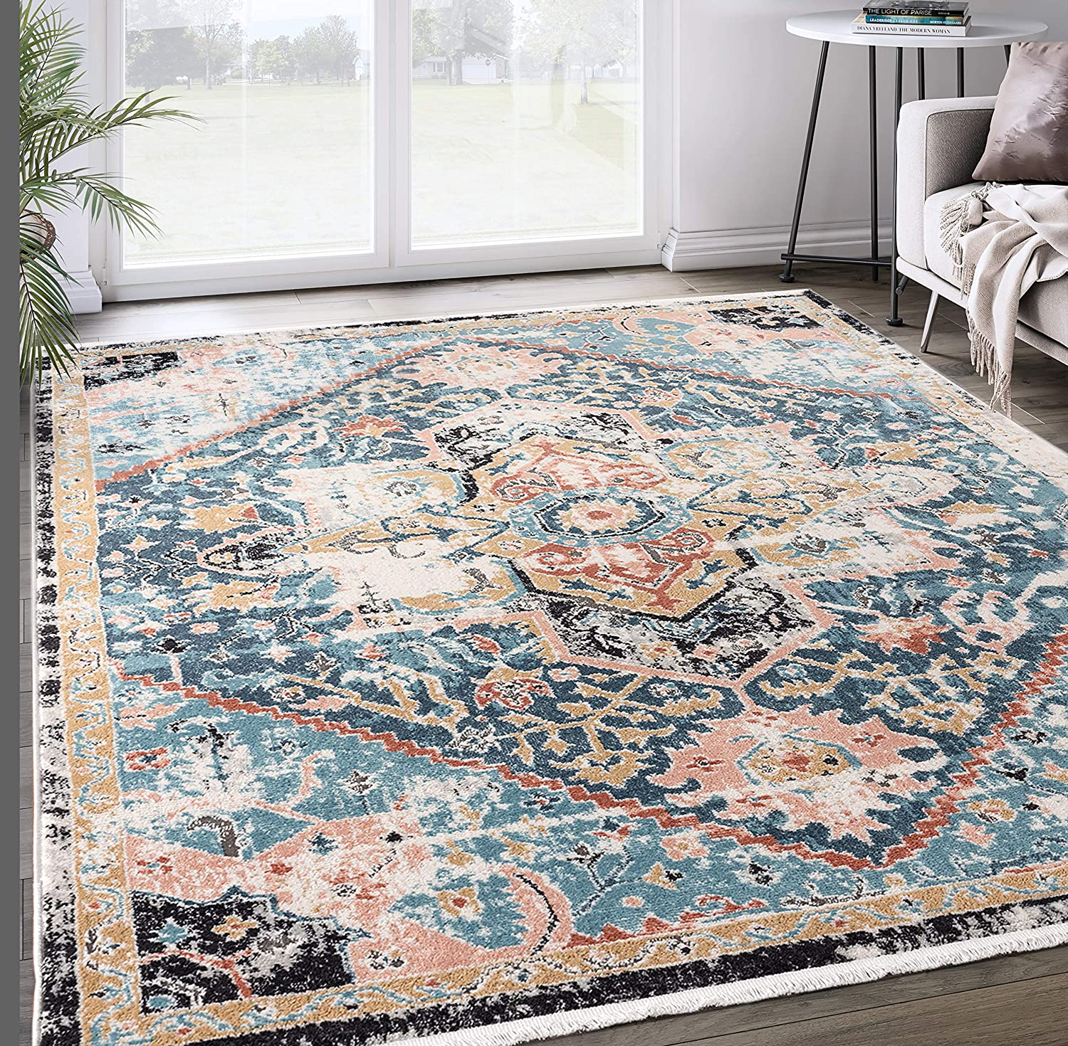 Abani Rugs Teal Blue Medallion Persian Area Rug Azure Collection 6 X9 Faded Accent Rug Kitchen Dining