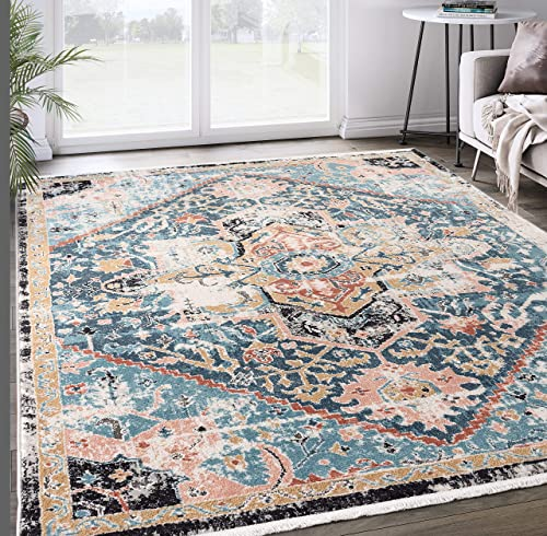 Abani Rugs Teal Blue Medallion Persian Area Rug