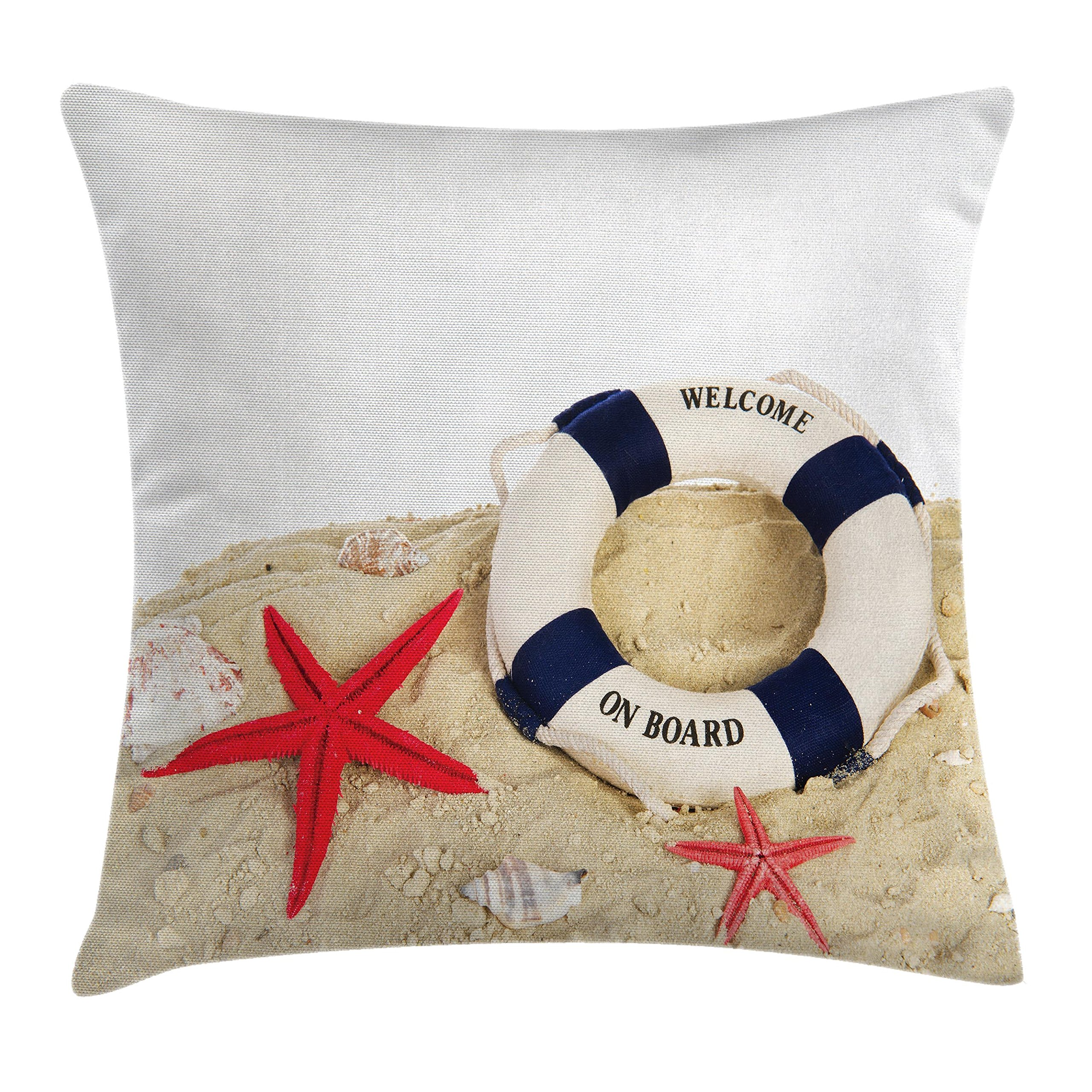Ambesonne Buoy Decor Throw Pillow Cushion Cover, Life Buoy and Shells Starfishes at Sandy Beach Coast Seaside Transport, Decorative Square Accent Pillow Case, 20 X 20 Inches, Blue Red and White