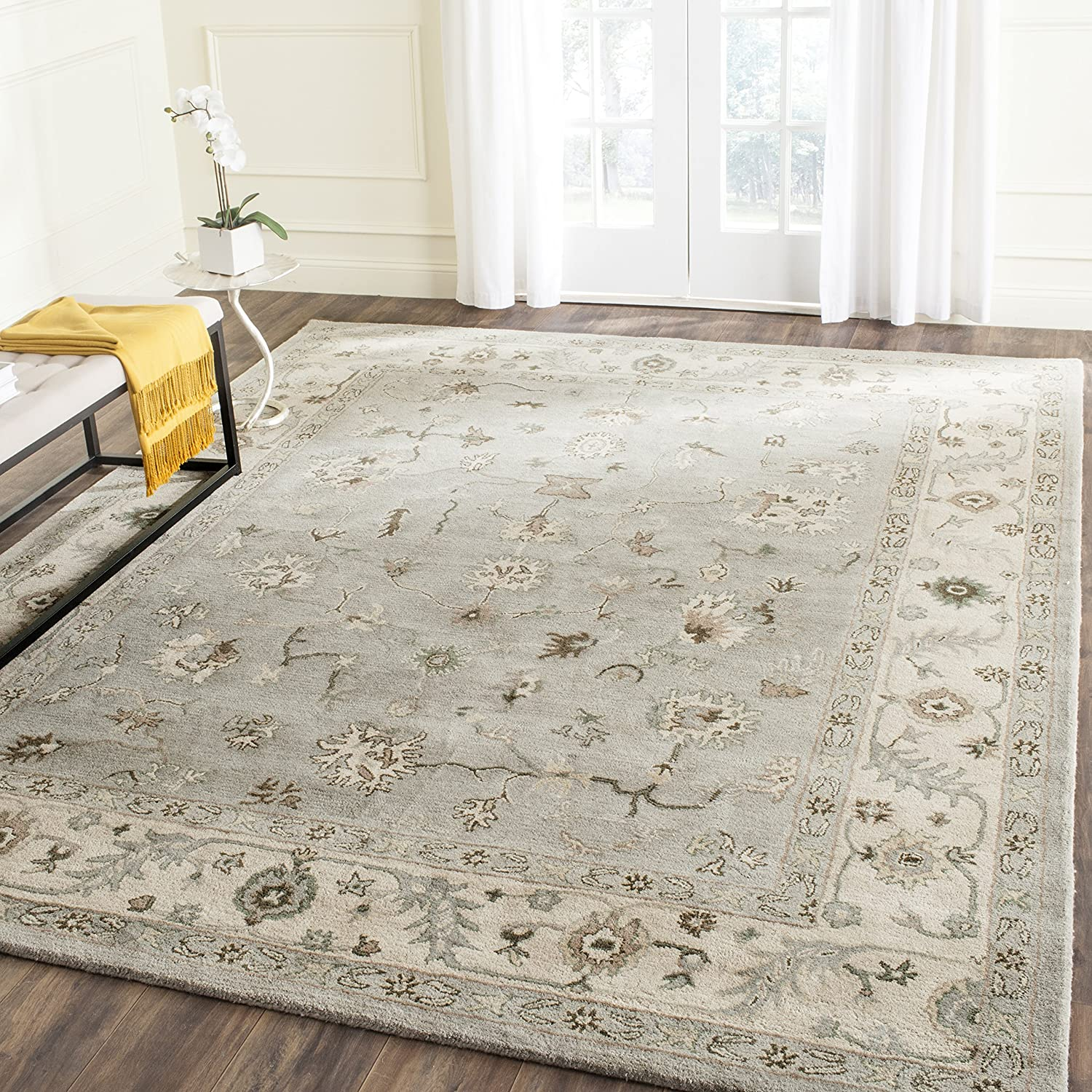 Safavieh Heritage Collection Hg865a Handmade Traditional Oriental Premium Wool Area Rug 9 X 12 Beige Grey Furniture Decor