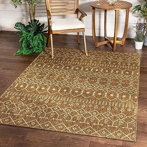 Well Woven Nors Brown Indoor/Outdoor Flat Weave Pile Nordic Lattice Pattern Area Rug 5×7 5'3″ x 7'3″