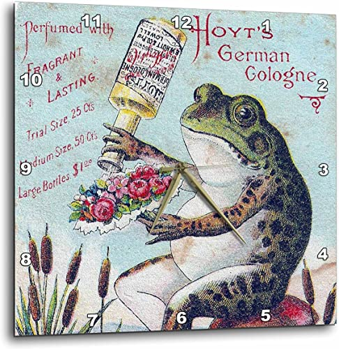 3dRose DPP_10908_1 Wall Clock, Vintage German Frog Cologne, 10 by 10-Inch