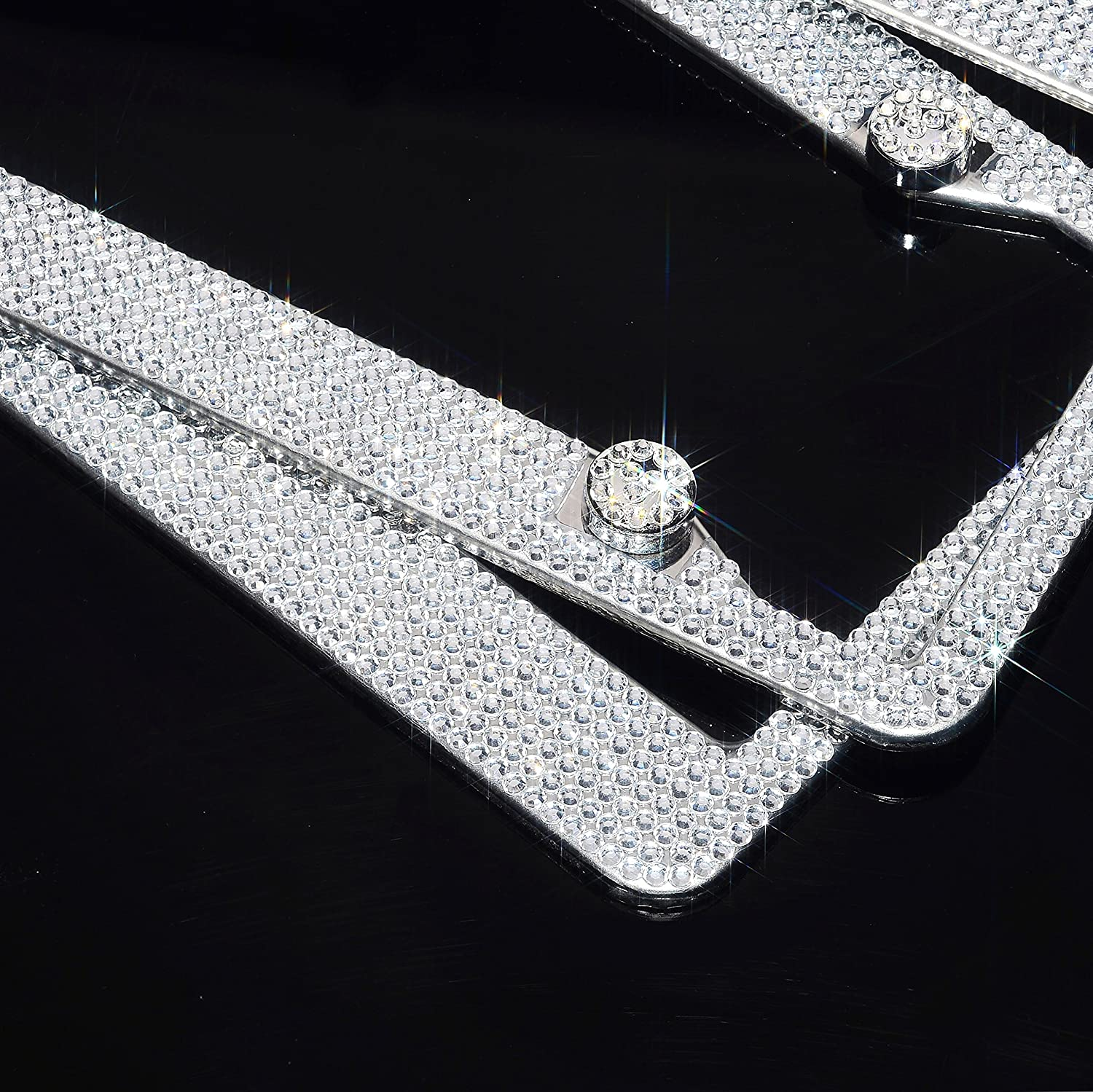 H C Hippo Creation 2 Pack Handcrafted Crystal Premium Stainless Steel Bling License Plate Frame (Crystal)
