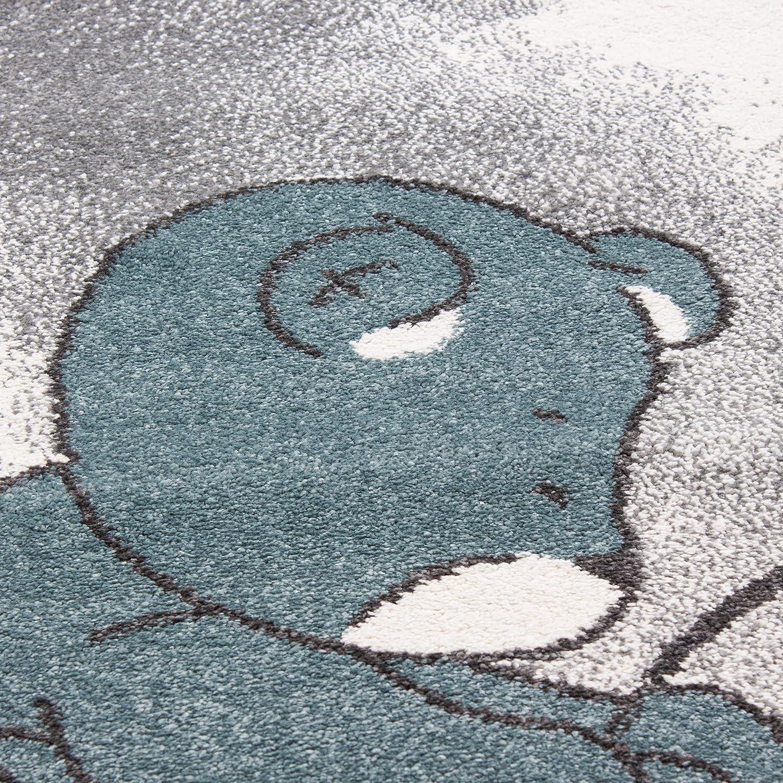 80 x 150 cm Bleu SIMPEX Tapis pour Enfant Adorable Ours avec Nuage /étoil/é Motif Chambre denfant Chambre de b/éb/é Tapis rectangulaire Rond Gris Bleu Blanc
