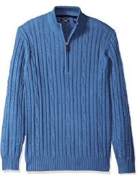 Izod Mens Standard Cable Solid 1/4 Zip Sweater