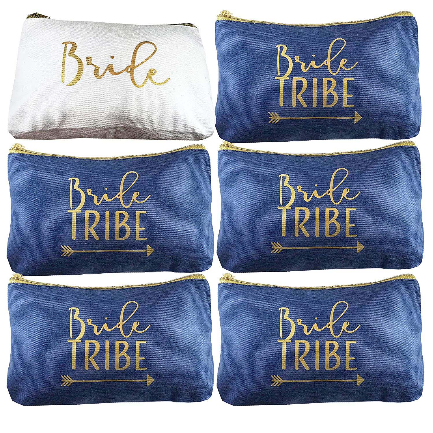 6 Piece Set Navy Blue Bride Tribe Canvas Cosmetic Makeup Clutch Gifts Bag for Bridesmaid Proposal Box Bridesmaids Bachelorette Party Favors