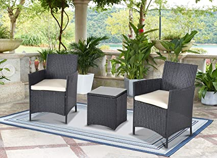 Kailua Furniture LULU Chic Outdoor All-Weather Wicker (3 Piece Set) Bistro  Chair, Glass Top Table, Removable UV-Resistant Cushions, and Cover