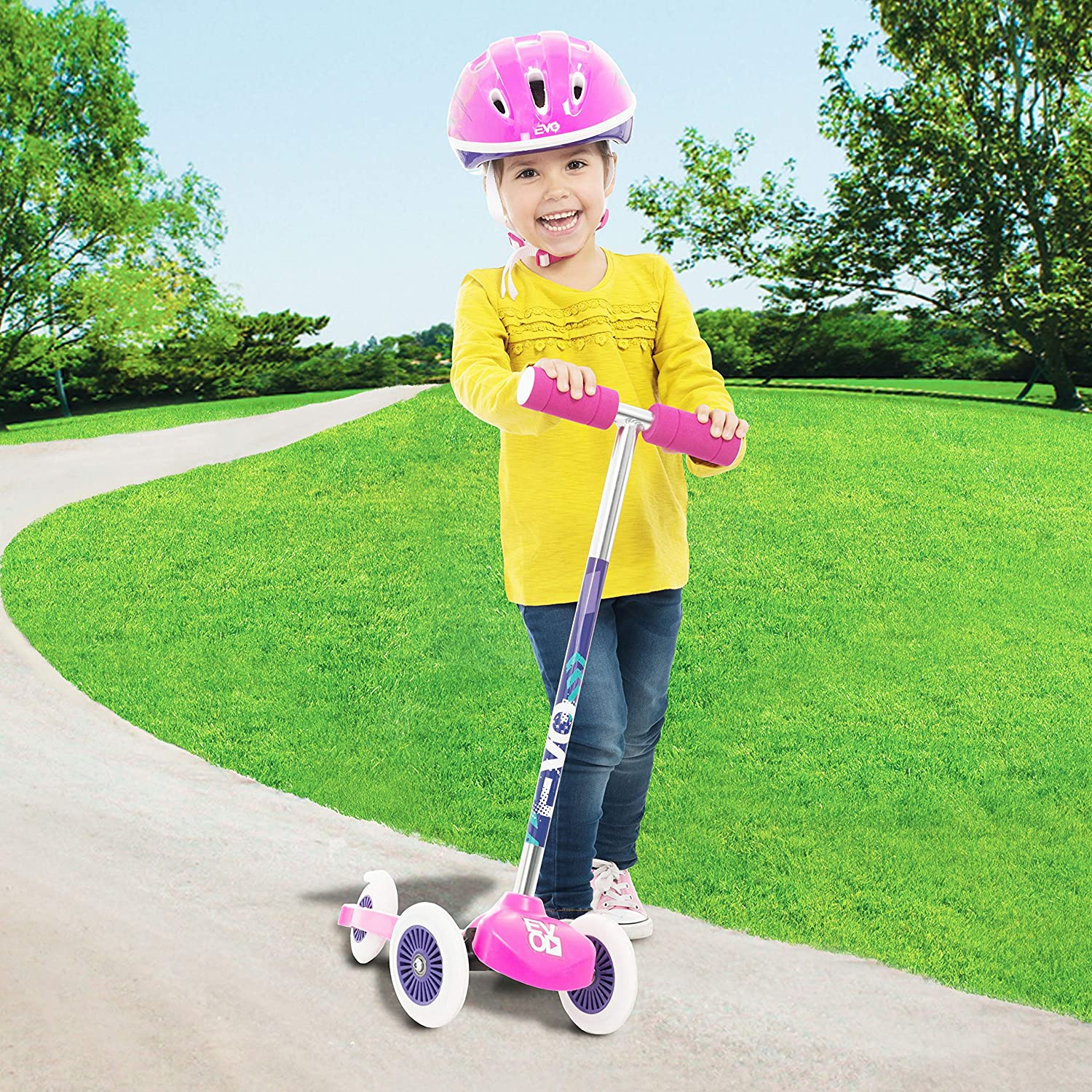 Kids 3-Wheel Scooter For Boys /& Girls EVO Pink Move /& Groove Scooter
