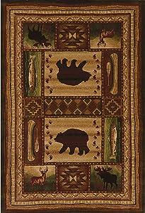 """Westfield Home Wildwood Wilderness Animals Hand-Carved Area Rug 2'7"""" x 4' 3' x 5' Indoor Rectangle"""