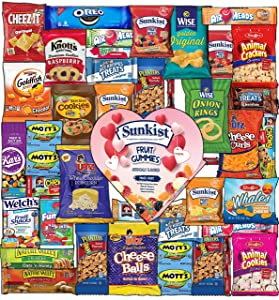 Valentine's Day Care Package (40ct) Snacks Cookies Candy Gummies Gift Box Variety Bundle for Boy Girl Friend Student College Child Husband Wife Boyfriend Girlfriend Love Niece Nephew him her kids
