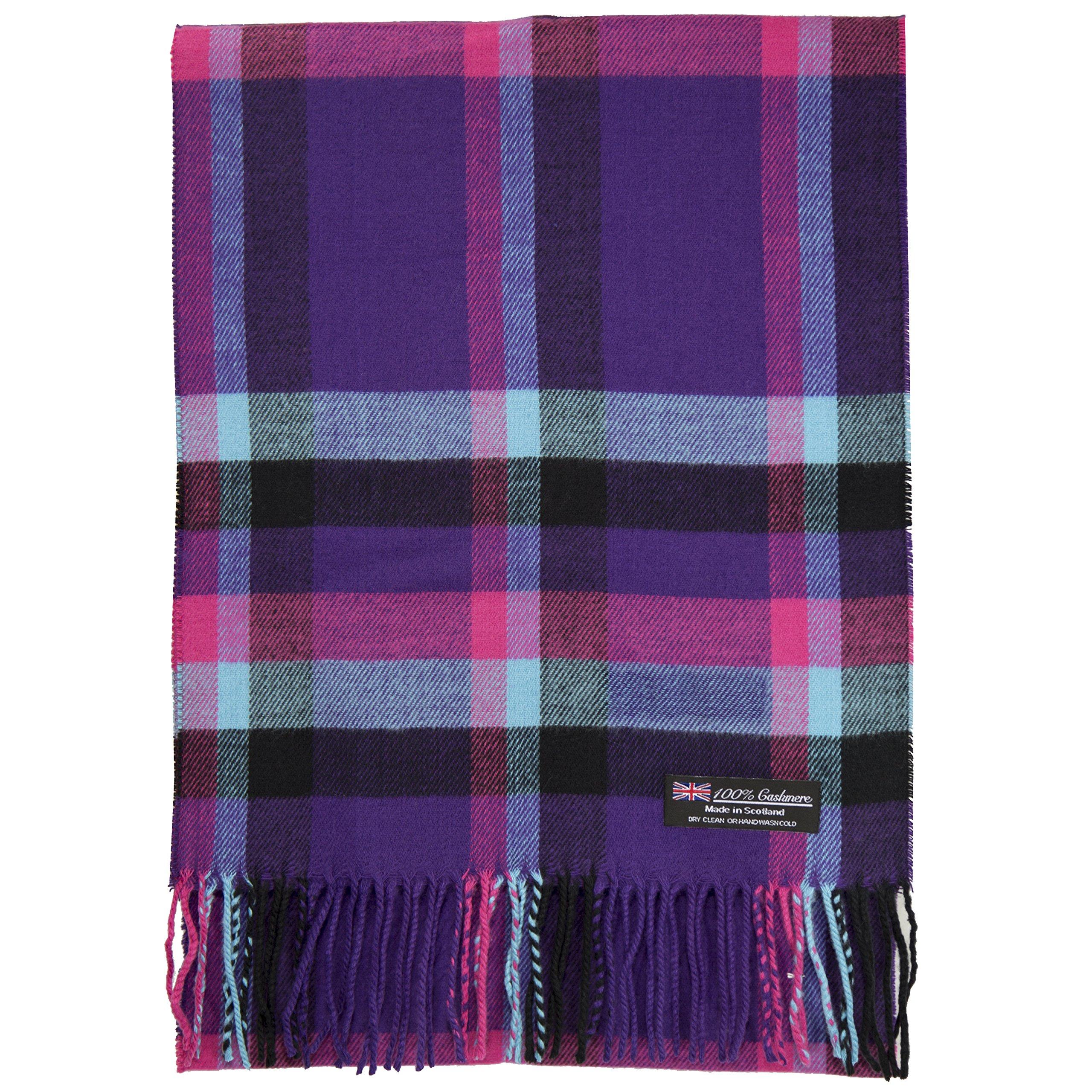100% Cashmere Scarf Made in Scotland Wool Buffalo Tartan Windowpane Check Plaid (Hot Pink Blue Purple Black) by Cashmere Made in Scotland