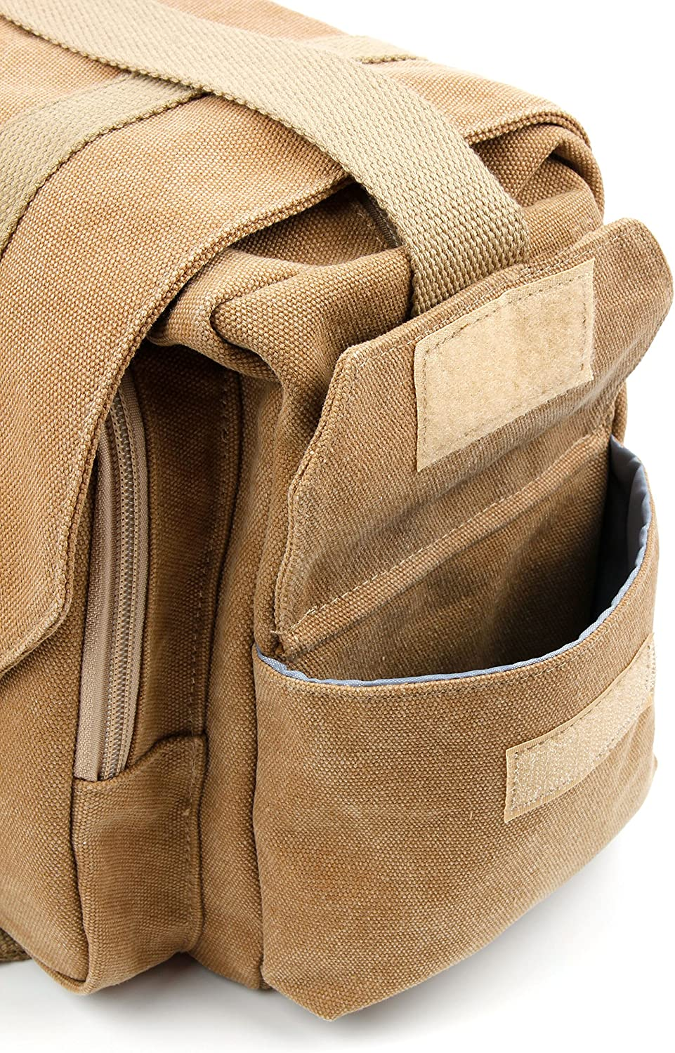 DURAGADGET Tan-Brown Large Sized Canvas Carry Bag with Multiple Pockets /& Customizable Interior Compartment Compatible with Easypix A4 Digital-Scanner