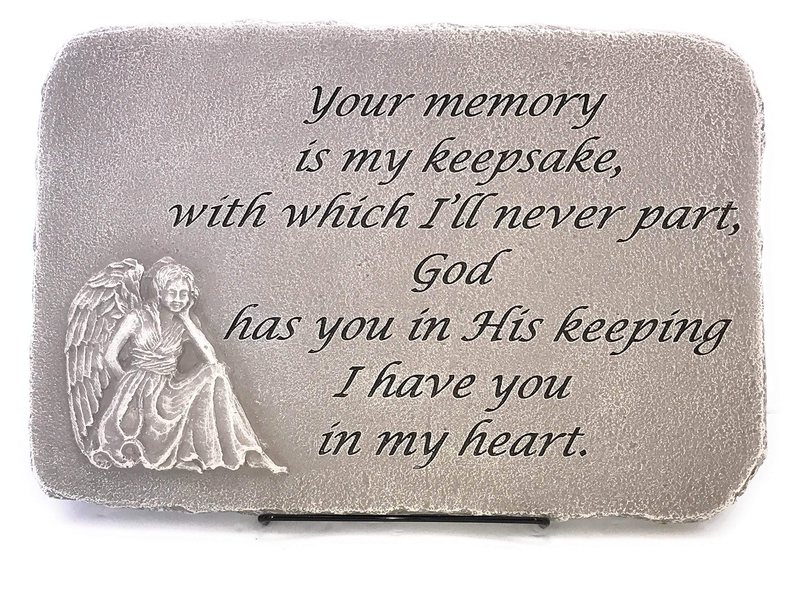 Kay Berry Your Memory My Keepsake; Memorial Stone 10x15 Shale; Angel; With Stand